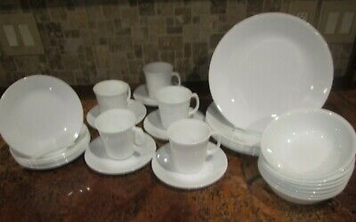 CORELLE 34PC WHITE FROST 8 DINNER 8 B&B/DESSERT 8 CEREAL BOWLS 5EA SAUCERS/CUPS