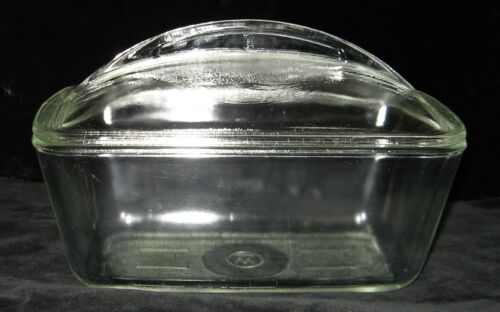 VTG CLEAR GLASS WESTINGHOUSE REFRIGERATOR DISH LOAF PAN W/ FIN LID GR8 CONDITION