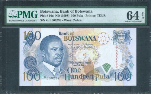 Botswana 100 Pula P16a ND (1993) PMG 64 EPQ Scarce 1st Prefix G/1 low No.239