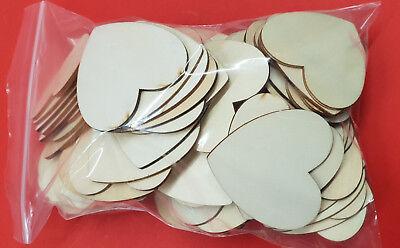 ANGEBOT 50 Stück 6 cm Holz Herz  B-Ware bräunliche oder bläuliche Verfärbung