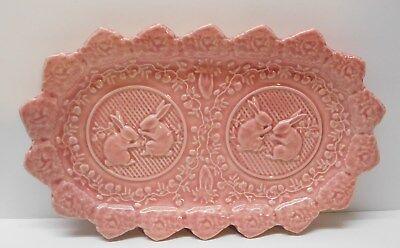 Pink Bunny Rabbit Bordallo Pinheiro Portugal Platter Serving Plate Flowers Vines