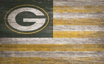 Green Bay Packers American Flagge Groß Holz-Schild Neu - 27.9cm x 48.3cm USA