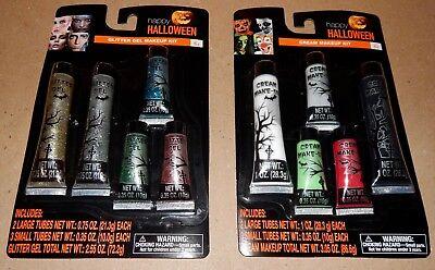 Halloween Makeup Kits Cream & Glitter Gel 10 Tubes Total 173P
