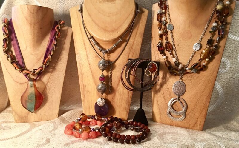 AUTUMN Mixed Jewelry Lot-Glass Beads-Silvertone*Necklaces*Bracelets*Earrings a60