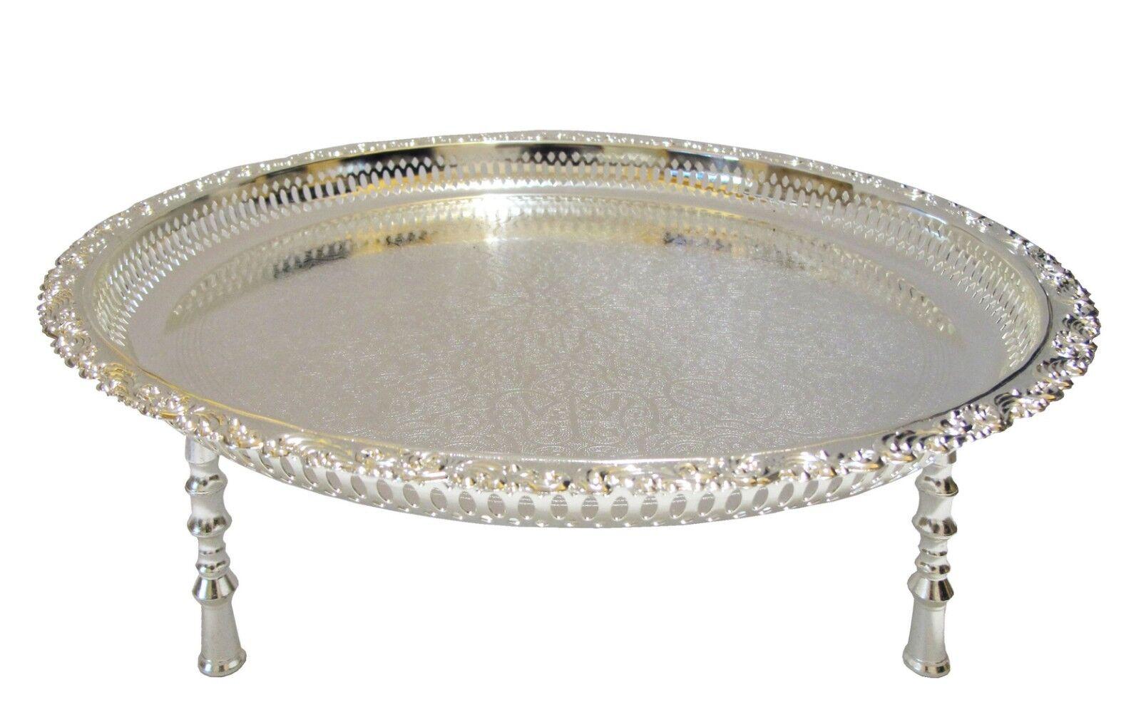 """Orientalisches Teetablett/ Teetisch """"Casablanca"""" Ø 45 cm Silber"""