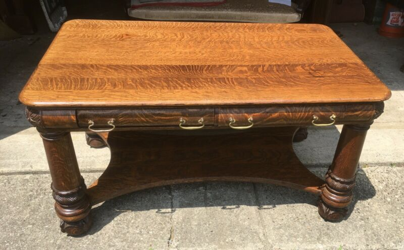 "54"" VICTORIAN OAK LIBRARY TABLE"