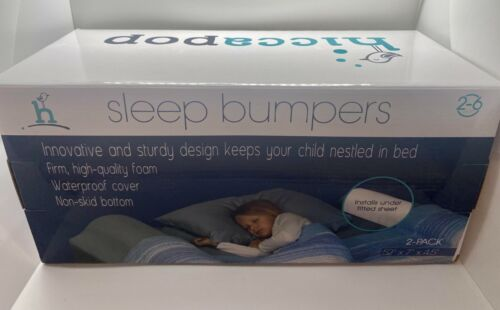 [2-Pack] hiccapop Foam Bed Bumpers for Toddlers, Bed Rails w/Wtr-Resistant Cover