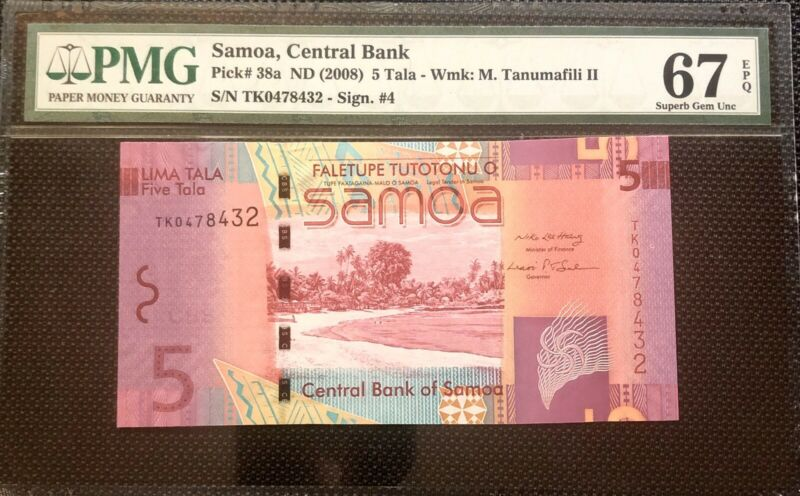 Samoa 5 Tala ND (2008)  P-38a PMG 67 EPQ Superb Gem UNC