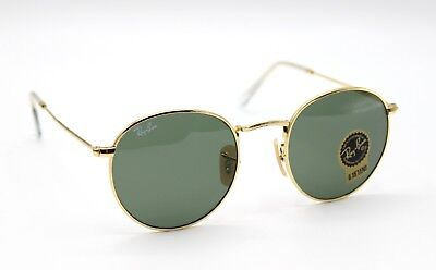 New Ray-Ban RB3447 001 Gold/Green Classic G-15 Round Sunglasses 50mm