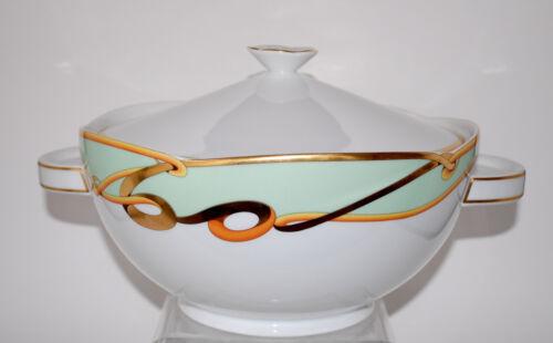 Big Richard Ginori Sirio Goldie Pattern China Handled Covered Serving Bowl