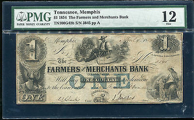 1854  1 The Farmers   Merchants Bank Of Memphis  Tn Obsolete Pmg Fine 12