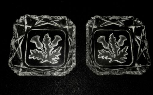 2 Vintage Square Edinburgh Thistle Crystal Butter Pats/Dishes/Trinket Trays