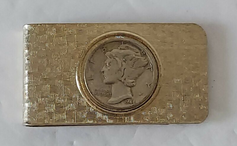 AWESOME! Vintage 1944 Liberty Dime Gold-Tone Money Clip