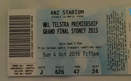NRL Grand Final Tickets X 2 Lidcombe Auburn Area Preview