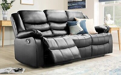 3 Seater Black Real Leather Recliner Sofa-