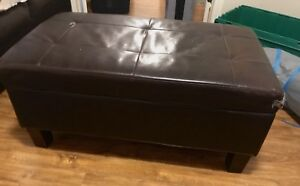 Leather ottoman with storage inside!