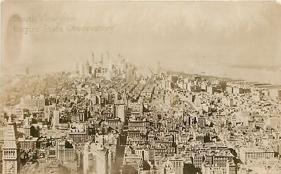 New York City South View From Empire State Observatory 1950S Real Photo Postcard