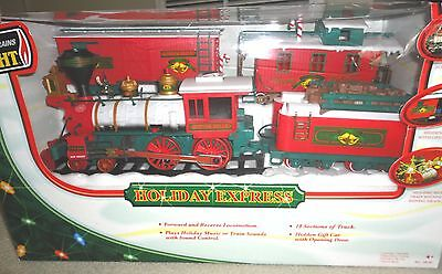 New Bright Holiday Express 1 Engine & 3 Car Train Set With Music & Train Sounds