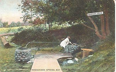 1910 The Minnehaha Spring at Bay View, MI Michigan PC
