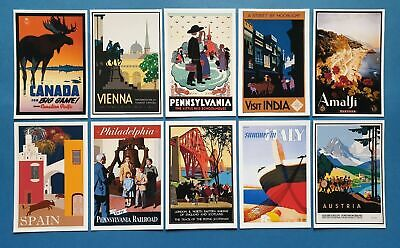 Postcards, Set of 10 NEW Stunning Vintage Reproduction Travel Posters 40i