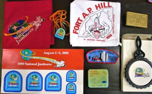 """BSA 1989 National Scout Jamboree """"THE ADVENTURE BEGINS..."""" Collection 8 Items"""
