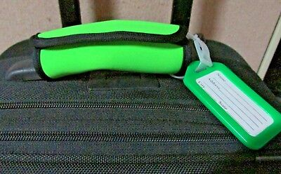 LUGGAGE TAG HANDLE GRIP NEON GREEN , NEOPRENE HANDLE WRAP, MATCHING  HANG TAG