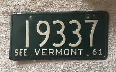 Very Nice Original 1961 Vermont License Plate See My Other Plates