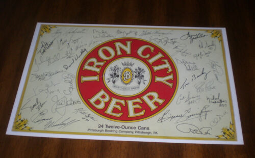 IRON CITY BEER 11x17 COLOR AD PRINT STEELERS SIGNATURES -  PITTSBURGH BREWING