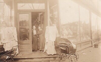 VINTAGE RPPC: AFFECTIONATE YOUNG WOMEN, CLOTHING STORE, BABY (Young Women Stores)