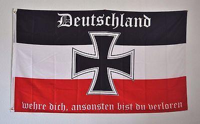 FAHNE FLAGGE DR 3943 DEUTSCHLAND WEHRE DICH SCHWARZ WEISS ROT EISERNES KREUZ