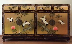 Beautiful Chinese solid wood lacquer over gold leaf sideboard Canberra Region Preview