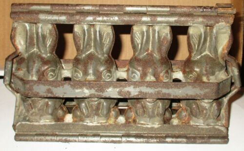 Antique 4 Slot Chocolate Bunny Rabbit Mold