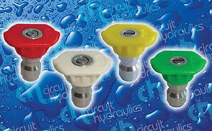 0 - 15 - 25 - 40 degree spray COLOURED QUICK RELEASE JET WASH NOZZLE TIP SET