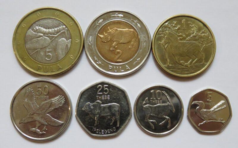 Botswana Animal Coins 7pcs, circulated 5, 10, 25, 50 Thebe and 1, 2, 5 Pula
