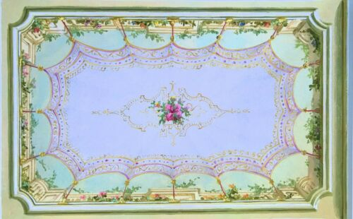 Dollhouse Miniature Ceiling Mural  Wallpaper #6096