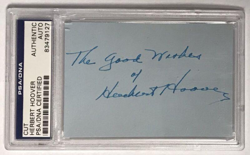 HERBERT HOOVER US President PSA/DNA Certified Authentic Auto Autograph