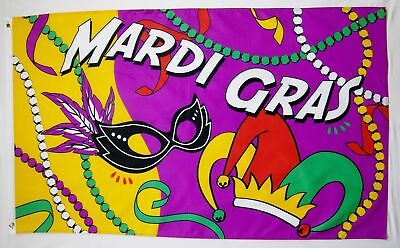 Mardi Gras Party Flag 3x5 ft New Orleans Louisiana Green Yellow Purple Gold Red