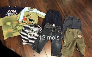 Lot de chandails(4) et pantalons (4) taille 12 mois