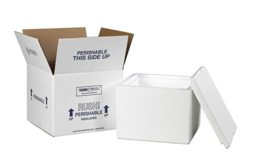 "Styrofoam Insulated Foam Container Thermo Mailer & Shipping Box 9.5"" x 9.5"" x 7"""