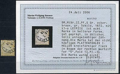 Dt. Reich 5 Gr. großer Schild 1872 Plattenfehler Michel 22 I Befund (S10112)