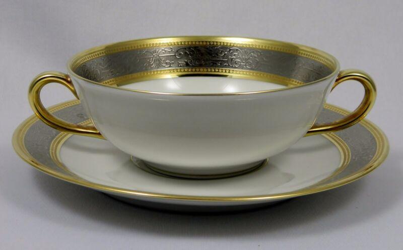 BERNARDAUD LIMOGES VULCAIN  Cream Soup Cup (Bowl) & Saucer Set