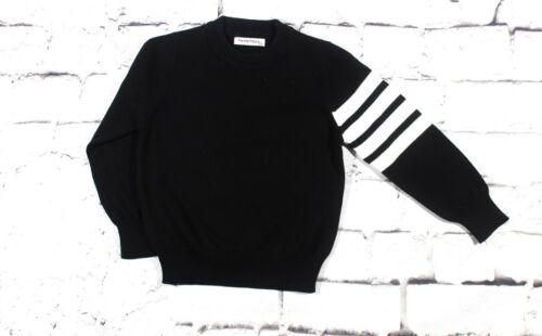 Baby Boy 100% Cotton Sweater With Striped Sleeves- Black ( 12M-4T)