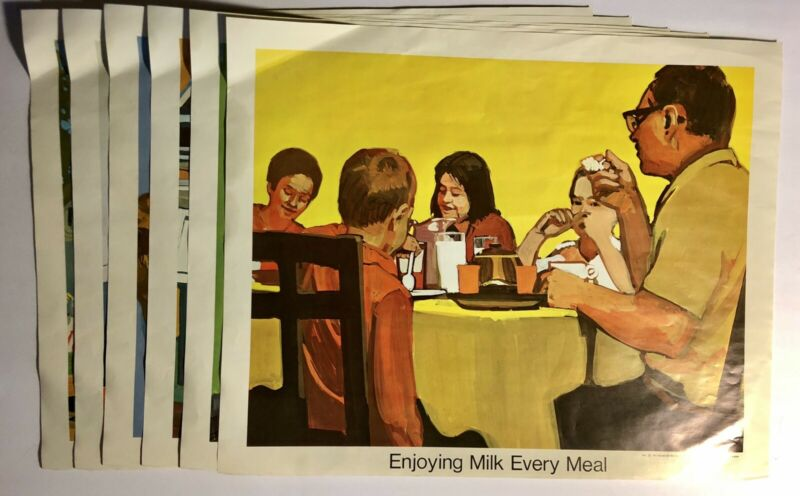 """Lot of 6 1966 National Dairy Council ads midcentury Mad Men 70s 16x20"""" near mint"""