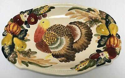 Beau Rivage Club Thanksgiving Turkey Platter Embossed Autumn Fall Fruit Veggies](Thanksgiving Fruit Platter)