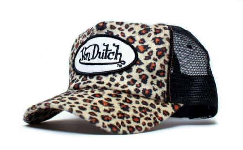 Authentic Brand New Von Dutch Cheetah Cap Hat Brown Black Spots Cat Animal Print