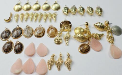 38 Pcs Vintage Shells Gold Dipped &Gold Shells Charms Pendant Earring Findings