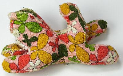 "Vintage Kitty Cat Hippie Design 11"" Terry Cloth Rag Plush Stuffed Animal Baby"