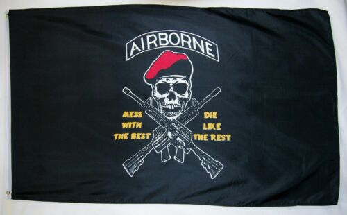 3x5 Airborne Mess With The Best Die Like The Rest Flag 3