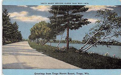 Haven Resort (TREGO WISCONSIN TREGO HAVEN RESORT GREETINGS POSTCARD 1940s)