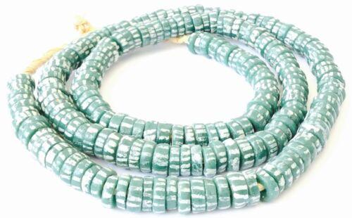 Handmade Ghana Green Chevron look glass African trade beads-Ghana